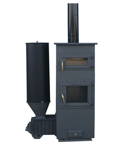 Estufa policombustible con horno y carga lateral 18 kw for Estufa pellets con horno