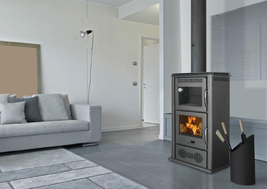 Estufa de le a con horno y ventiladores 9 kw 80 m2 sercatec albacete s l - Estufas de lena con horno ...