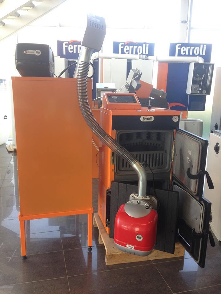 Conjunto caldera pellet le a sfl 3 ferroli 22 kw 190 m2 - Caldera mixta lena pellet ...