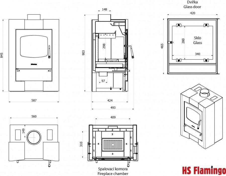 Estufa de le a de doble combustion modelo espo 1 9kw 70 for Estufas doble combustion precios