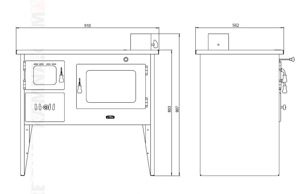 Cocina de le a con horno priyt 14 kw 105 m2 sercatec - Cocinas con horno de lena ...