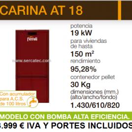 Caldera de Pellets Ferroli CARINA AT 18 (150 m2) con acumulador de 100 L