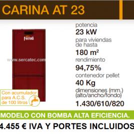 Caldera de Pellets Ferroli CARINA AT 23 (180 m2) acumulador de 100 L