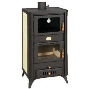 Estufa de leña con horno para conectar a radiadores