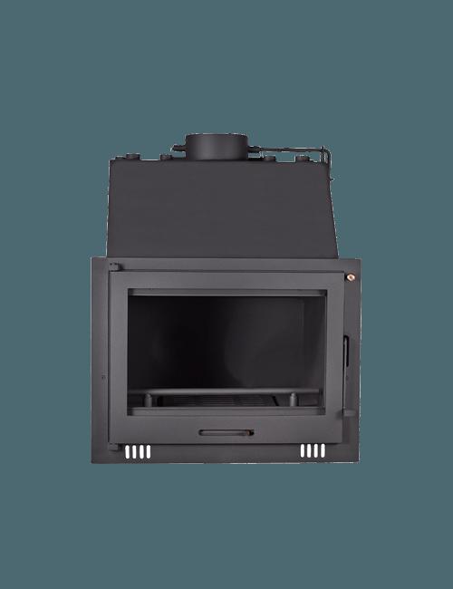 chimenea de leña con conexión a radiadores