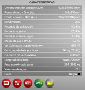 datos insertable de leña solrak