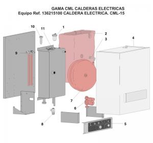plano caldera baxi CALDERA MURAL ELECTR. CML-15